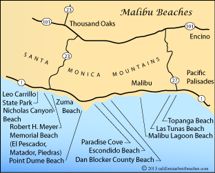 map of Malibu Beaches in Los Angeles County, California