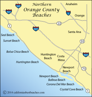 map of northern Orange  County beaches, California