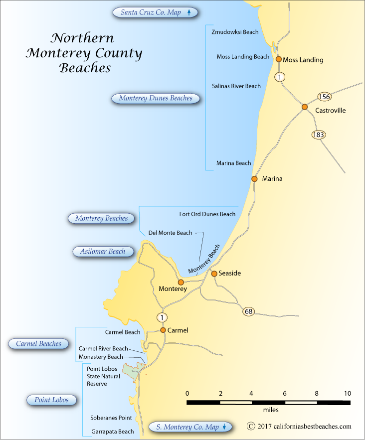 Monterey County California Map.Northern Monterey County Beaches
