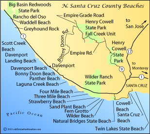 Map showing the area around Davenport, CA