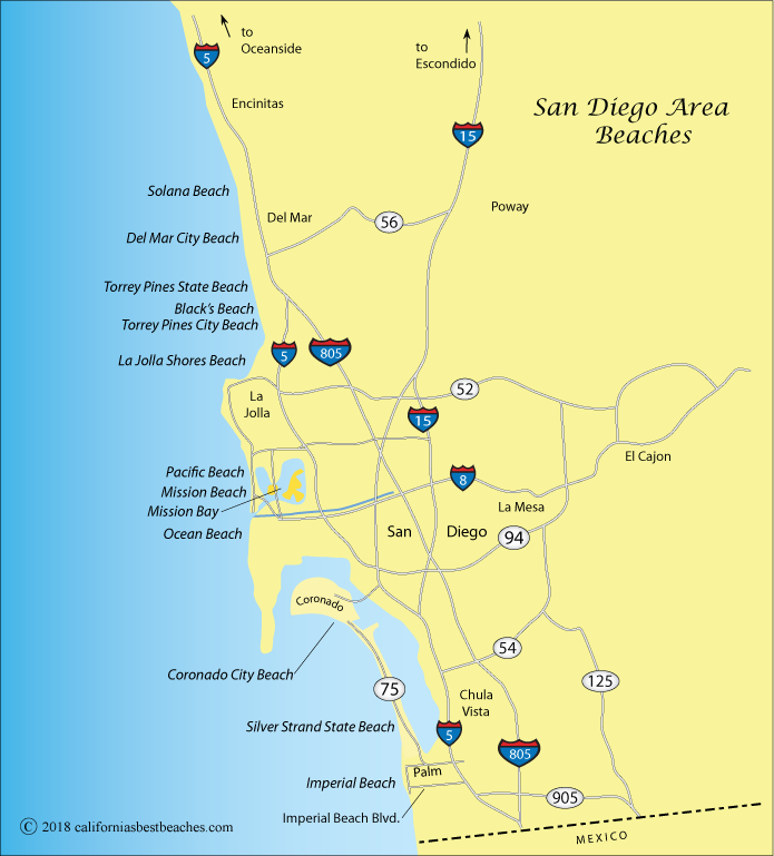 Map of San Diego area beaches, California
