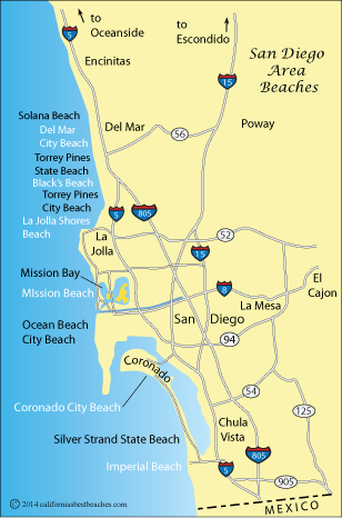 Map of the greater San Diego area, California