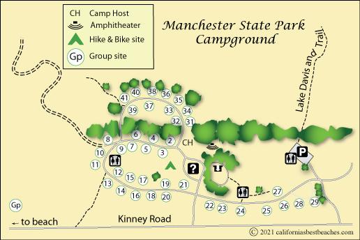 Manchester Beach Camping - California koa map