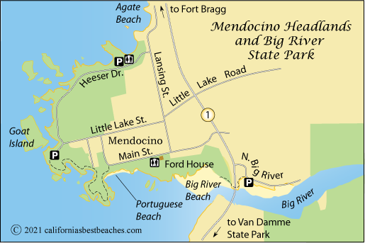 Mendocino Headlands And Big River Beach Californias Best Beaches - World big river map