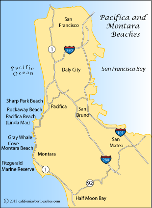 Map showing beaches around Pacifica and Montara, CA