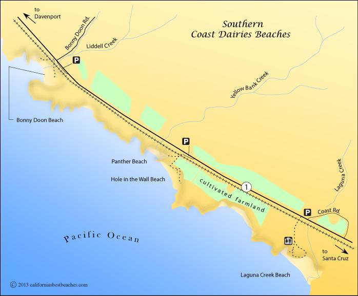 Coast Dairies beaches map, Santa Cruz County, CA
