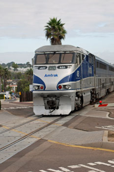Coaster train at Del Mar, San Diego County, California