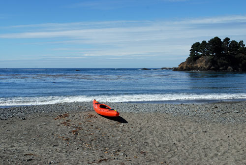 Kayak at Van Damme Beach, Mendocino County, CA