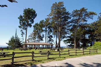 picnic area at New Brighton Beach, Santa Cruz County, CA