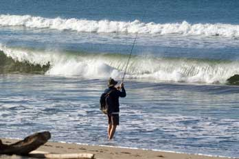 Surf fishing along the Ventura County coast, CA