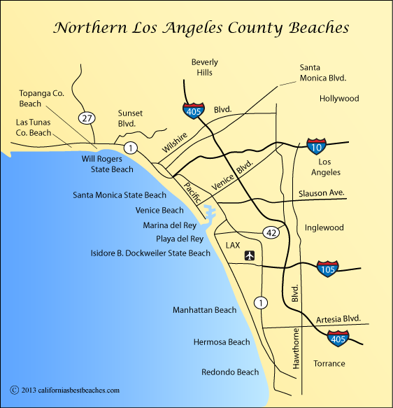 map of Los Angeles County beaches around Santa Monica, California