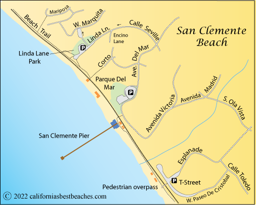 San Clemente Beach - California's Best Beaches on goleta state beach map, huntington beach state beach map, trinidad state beach map, corona del mar state beach map, carpinteria state beach map, san clemente beach campground map, dockweiler state beach map, city of san clemente ca map, san elijo state beach map, san clemente trail map, san clemente camp map, state of california beaches map, san clemente coast map, redwood national and state parks map, montana de oro state park map, oceano state beach camping map, gaviota state beach map, seacliff state beach map, hotels san clemente map, prairie creek redwoods state park map,