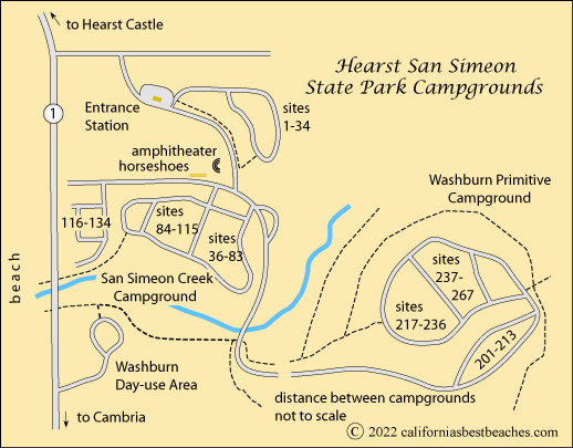 Campgrounds In California Map.Hearst San Simeon State Park Camping