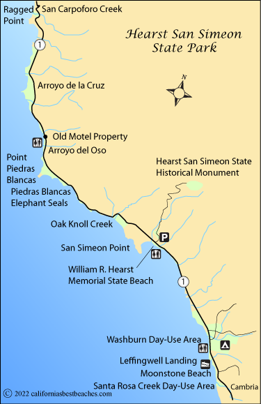 Hearst San Simeon State Park Beaches on south el monte map, pismo beach map, moonstone beach map, yorba linda map, morro bay state park map, hearst castle map, pico rivera map, santa cruz map, van nuys map, hearst mansion map, casmalia map, carmel bay map, santa susana pass map, cayucos map, gorda map, lake san antonio map, yosemite national park map, mission san luis obispo map, turlock map,