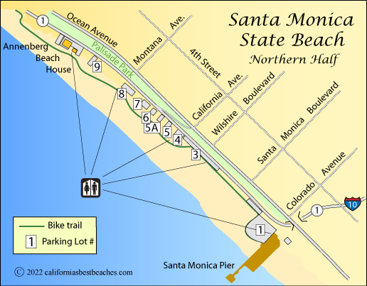 Santa Monica State Beach - California's Best Beaches on palm springs map, ventura ca on a map, beverly hills map, culver city map, bel air map, detroit map, castaic lake campground map, raymond chandler map, anaheim map, burbank map, long beach map, west hollywood map, torrance transit map, la county map, cuenca-ecuador google map, philadelphia map, redondo beach map, venice beach ca map, santiago de cali colombia map, los angeles map,