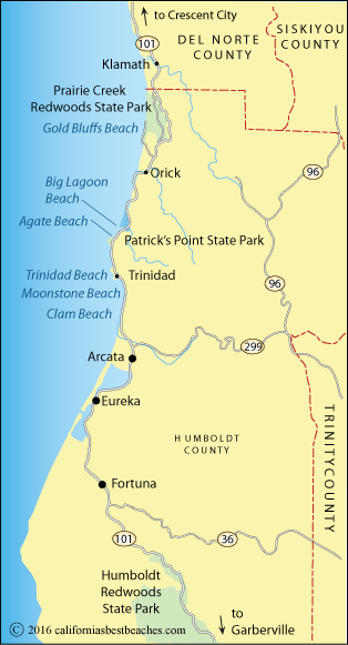 Map showing Humboldt County beaches, CA