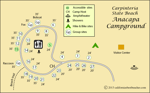 Map Of Anacapa Campground In Carpinteria State Beach Ca