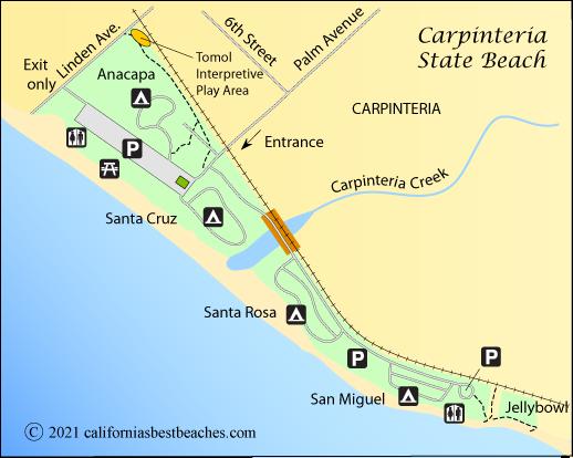 Map Of Carpinteria Beach Santa Barbara County Ca