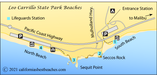 Leo Carrillo State Park Beaches Map Los Angeles County Ca