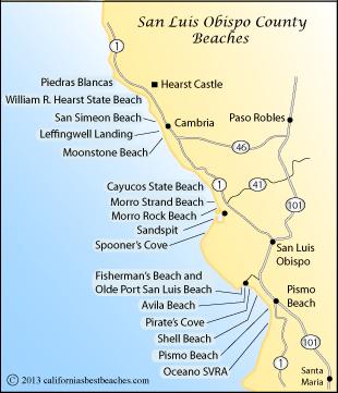 Map Of San Luis Obispo County Beaches Ca
