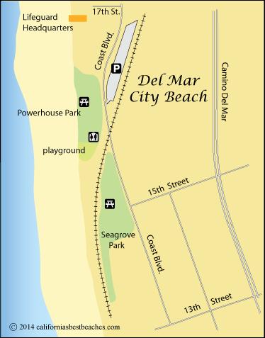 Del Mar City Beach Map San Go County Ca