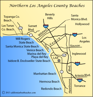 Map Of Los Angeles County Beaches Around Santa Monica California