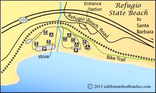 Map Of Refugio State Beach Santa Barbara County Ca