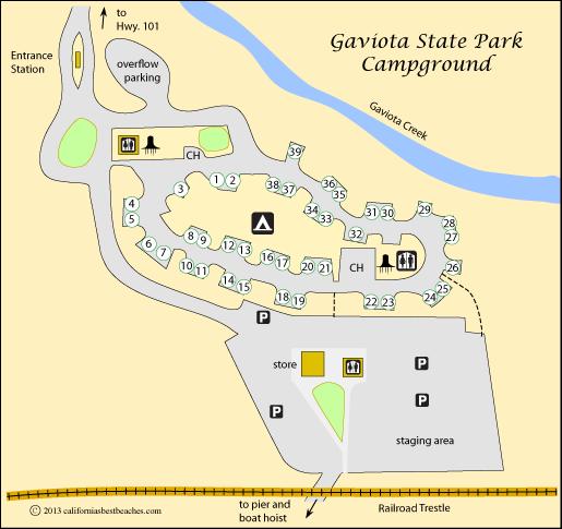 Map Of Gaviota State Park Campground Ca