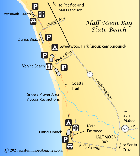 Half Moon Bay Map Half Moon Bay Beaches