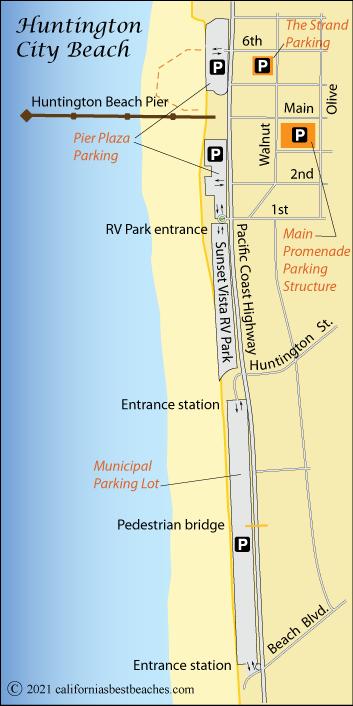 Map Of Huntington City Beach Orange County Ca