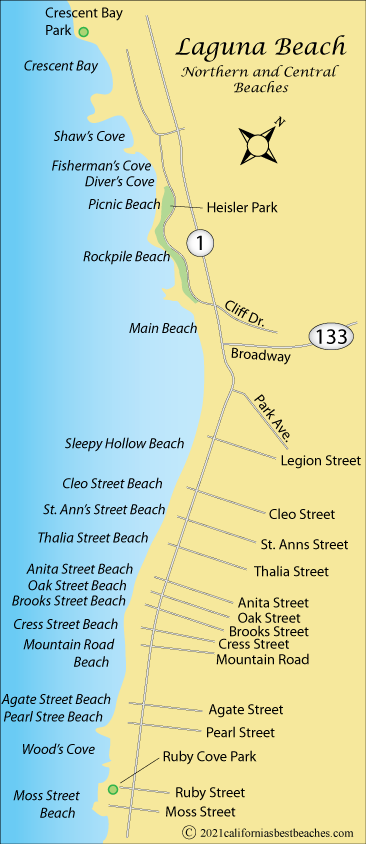 Laguna Beach Map Orange County Ca