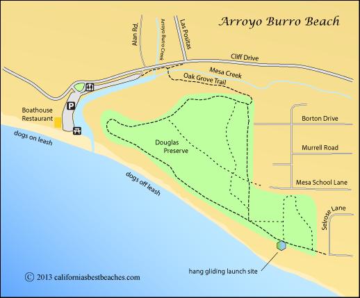 Map Of Arroyo Burro Beach And Douglas Preserve Santa Barbara Ca