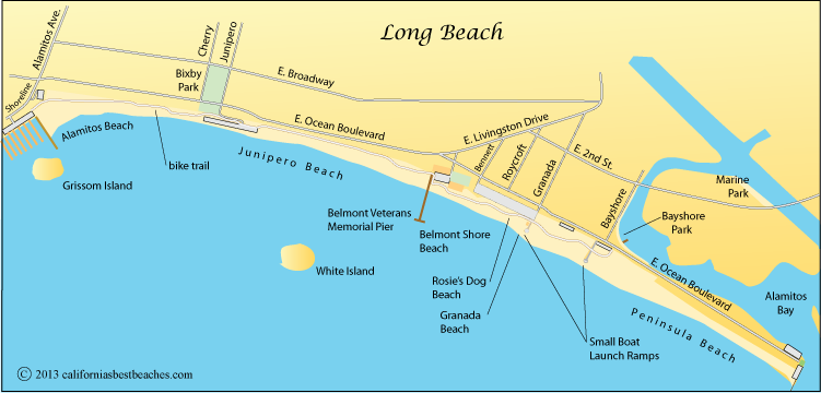 Long Beach Map Los Angeles County Ca
