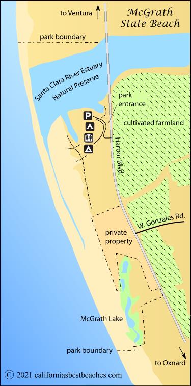 Map Of Mcgrath State Beach Ventura County Ca
