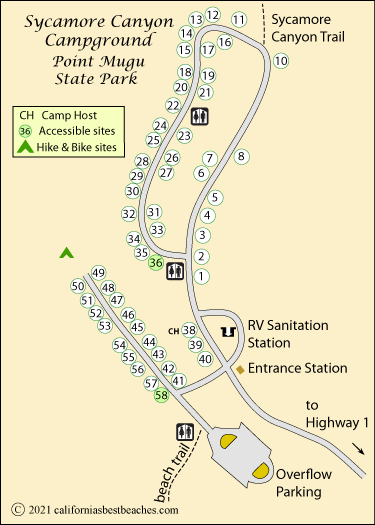 Sycamore Canyon Campground Map Point Mugu State Park Ca
