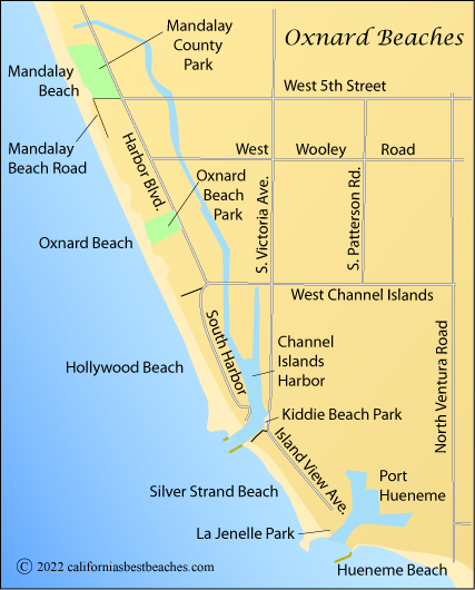 Map Of Oxnard Beaches Ventura County Ca