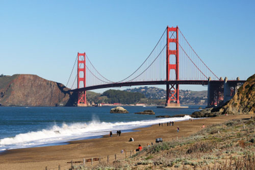 Golden Gate Bridge From Baker Beach San Francisco Ca