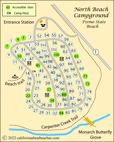 North Beach Campground Map Pismo State Ca