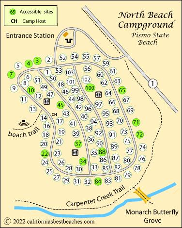 North Beach Campground Map Pismo State Ca