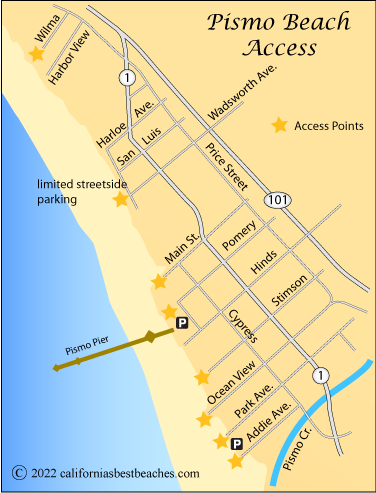 Map Of Access Points To Pismo Beach Ca
