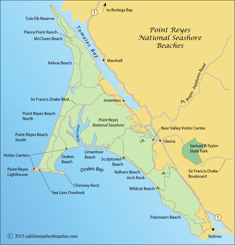 Map Of Point Reyes National Seas Marin County Ca