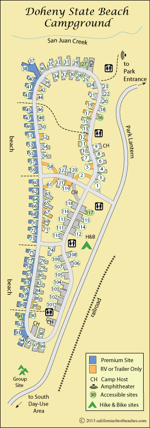 Map Of Doheny State Beach Campground Orange County Ca