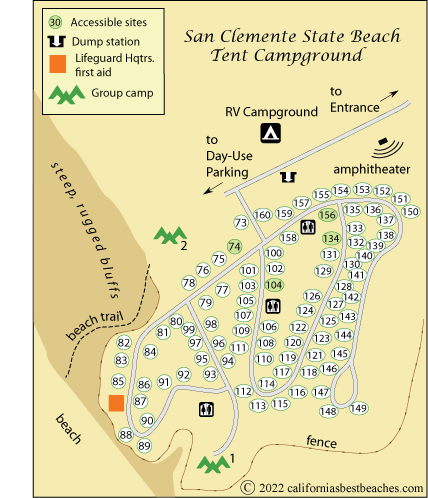 Map Of San Clemente State Beach Campground Orange County Ca