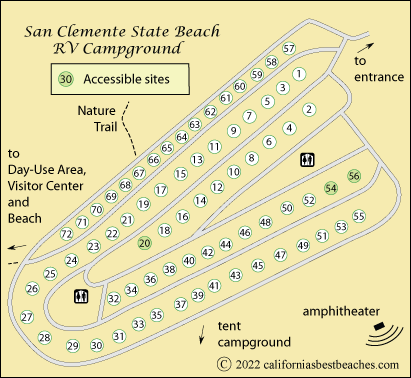Map Of San Clemente State Beach Rv Campground Orange County Ca