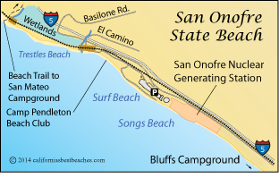 San Onofre State Beach Map Go County Ca