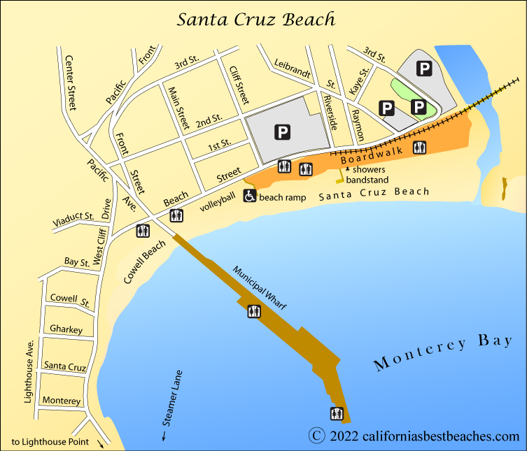 Santa Cruz Beach Map County Ca