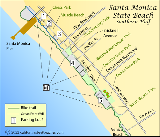 Santa Monica Beach Map Southern Half Los Angeles County Ca