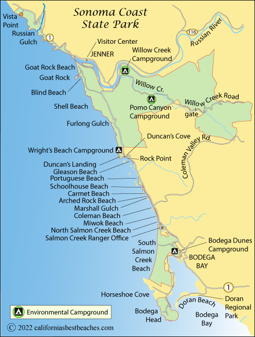 Sonoma Coast State Park Beaches on