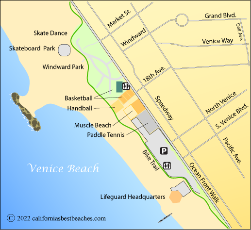 Venice Beach Map Los Angeles County Ca