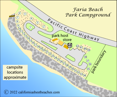 Map Of Campground At Faria Beach Park Ventura County Ca